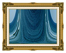 Lora Ashley Contemporary Water World canvas with museum ornate gold frame