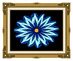 Lora Ashley Contemporary Blue Flower canvas with museum ornate gold frame