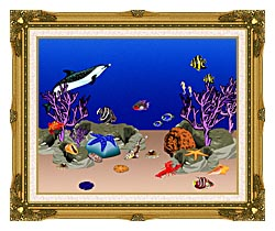Lora Ashley Ocean Scene Underwater canvas with museum ornate gold frame