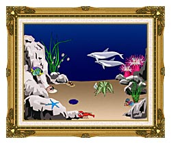 Lora Ashley Dolphins Swimming canvas with museum ornate gold frame