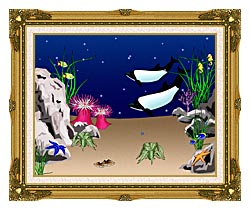 Lora Ashley Whales Swimming canvas with museum ornate gold frame