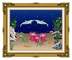 Lora Ashley Kissing Dolphins canvas with museum ornate gold frame