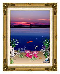 Lora Ashley Ocean Scene Above And Below canvas with museum ornate gold frame