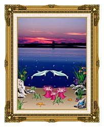 Lora Ashley Lighthouse Above Dolphins Below canvas with museum ornate gold frame