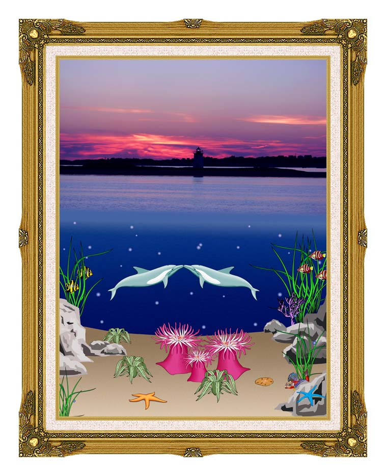 Lora Ashley Lighthouse Above, Dolphins Below with Museum Ornate Frame w/Liner