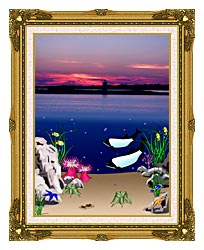 Lora Ashley Lighthouse Above Whales Below canvas with museum ornate gold frame