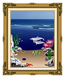 Lora Ashley Dolphins Below The Ocean Waves canvas with museum ornate gold frame