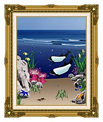 Lora Ashley Whales Below The Ocean Waves canvas with museum ornate gold frame