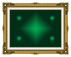 Lora Ashley Green Contemporary canvas with museum ornate gold frame