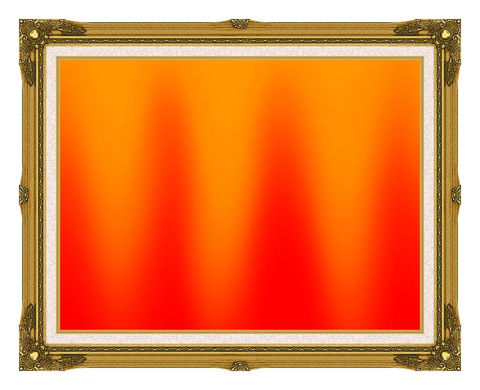 Lora Ashley Red and Orange Contemporary with Museum Ornate Frame w/Liner