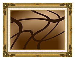 Lora Ashley Brown Abstract canvas with museum ornate gold frame