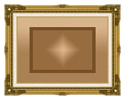 Lora Ashley Brown And Tan Modern canvas with museum ornate gold frame