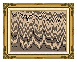 Lora Ashley Modern Black And Tan canvas with museum ornate gold frame