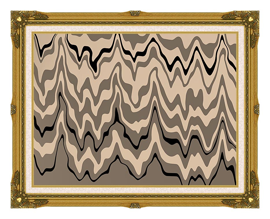 Lora Ashley Modern Black and Tan with Museum Ornate Frame w/Liner
