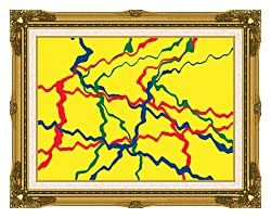 Lora Ashley Yellow Abstract canvas with museum ornate gold frame