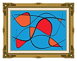 Lora Ashley Blue And Red Abstract canvas with museum ornate gold frame