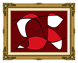 Lora Ashley Maroon Abstract canvas with museum ornate gold frame