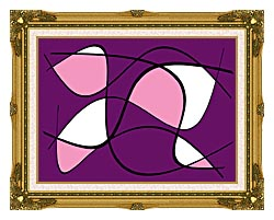 Lora Ashley Purple And Pink Abstract canvas with museum ornate gold frame
