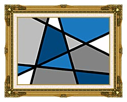 Lora Ashley Blue And Grey Abstract canvas with museum ornate gold frame