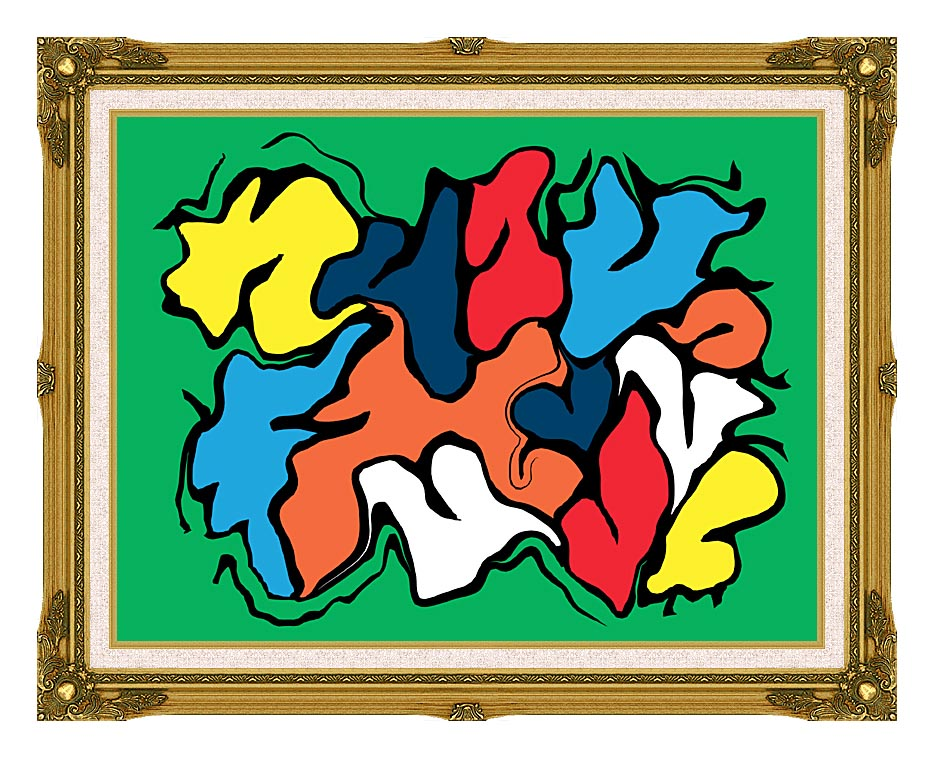 Lora Ashley Colorful Abstract with Museum Ornate Frame w/Liner