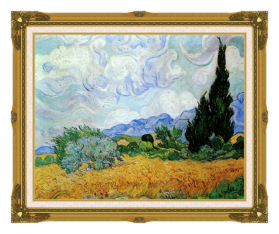 Vincent van Gogh Wheat Field and Cypress Trees (seen in the movie Vanilla Sky) with Museum Ornate Frame w/Liner