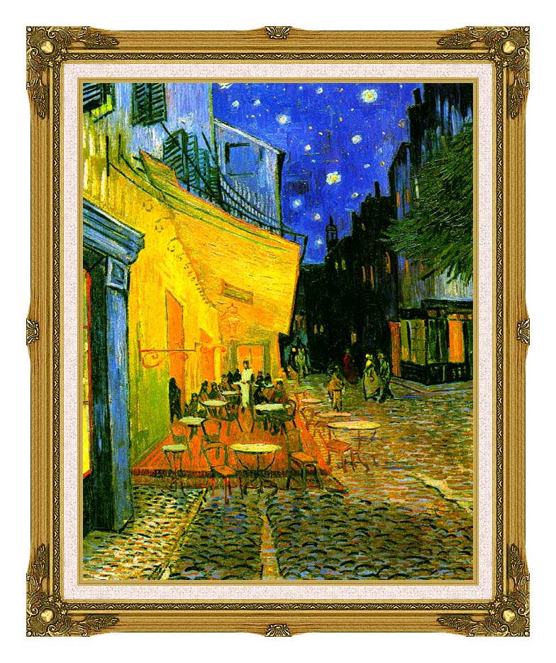 Vincent van Gogh Cafe Terrace at Night with Museum Ornate Frame w/Liner