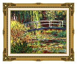 Claude Monet Water Lilies Pink Harmony canvas with museum ornate gold frame