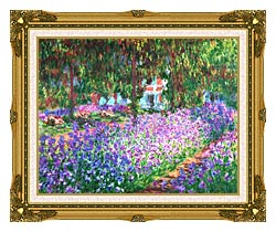 Claude Monet The Artists Garden At Giverny canvas with museum ornate gold frame