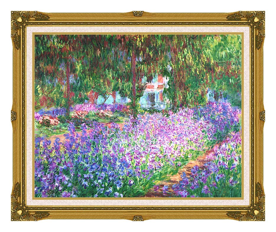 Claude Monet The Artist's Garden at Giverny with Museum Ornate Frame w/Liner