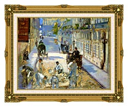 Edouard Manet The Rue Mosnier With Pavers canvas with museum ornate gold frame