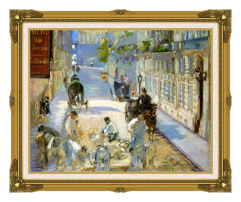Edouard Manet The Rue Mosnier with Pavers with Museum Ornate Frame w/Liner