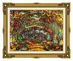 Claude Monet The Path With Rose Trellises Giverny canvas with museum ornate gold frame