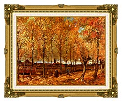 Vincent Van Gogh Lane With Poplars canvas with museum ornate gold frame