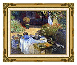 Claude Monet Le Dejeuner canvas with museum ornate gold frame
