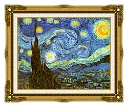 Vincent Van Gogh The Starry Night canvas with museum ornate gold frame