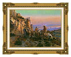 Charles Russell Trouble Hunters canvas with museum ornate gold frame