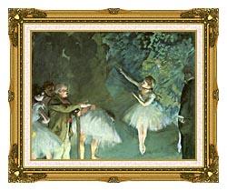 Edgar Degas Ballet Rehearsal canvas with museum ornate gold frame
