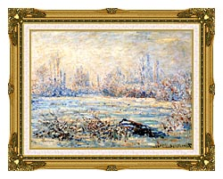 Claude Monet Frost Near Vetheuil canvas with museum ornate gold frame