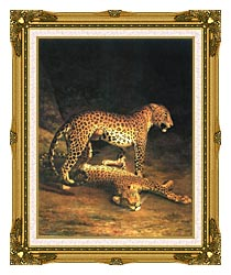 Jacques Laurent Agasse Two Leopards canvas with museum ornate gold frame