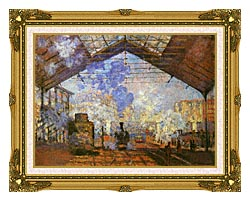Claude Monet La Gare Saint Lazare canvas with museum ornate gold frame