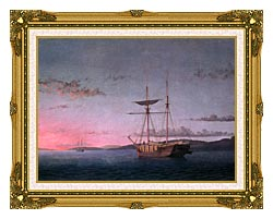 Fitz Hugh Lane Lumber Schooners At Evening On Penobscot Bay canvas with museum ornate gold frame
