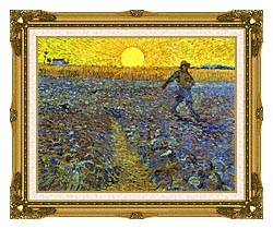 Vincent Van Gogh The Sower canvas with museum ornate gold frame