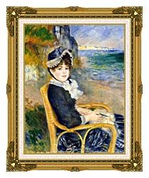 Pierre Auguste Renoir By The Seashore canvas with museum ornate gold frame