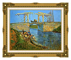 Vincent Van Gogh The Langlois Bridge At Arles With Women Washing canvas with museum ornate gold frame