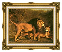 Jacques Laurent Agasse Two Lions Life Size canvas with museum ornate gold frame