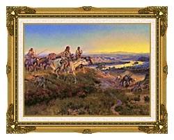 Charles Russell When White Men Turn Red canvas with museum ornate gold frame