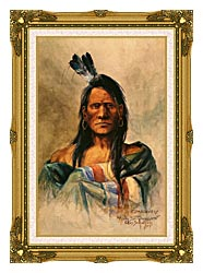 Charles Russell Indian Head canvas with museum ornate gold frame
