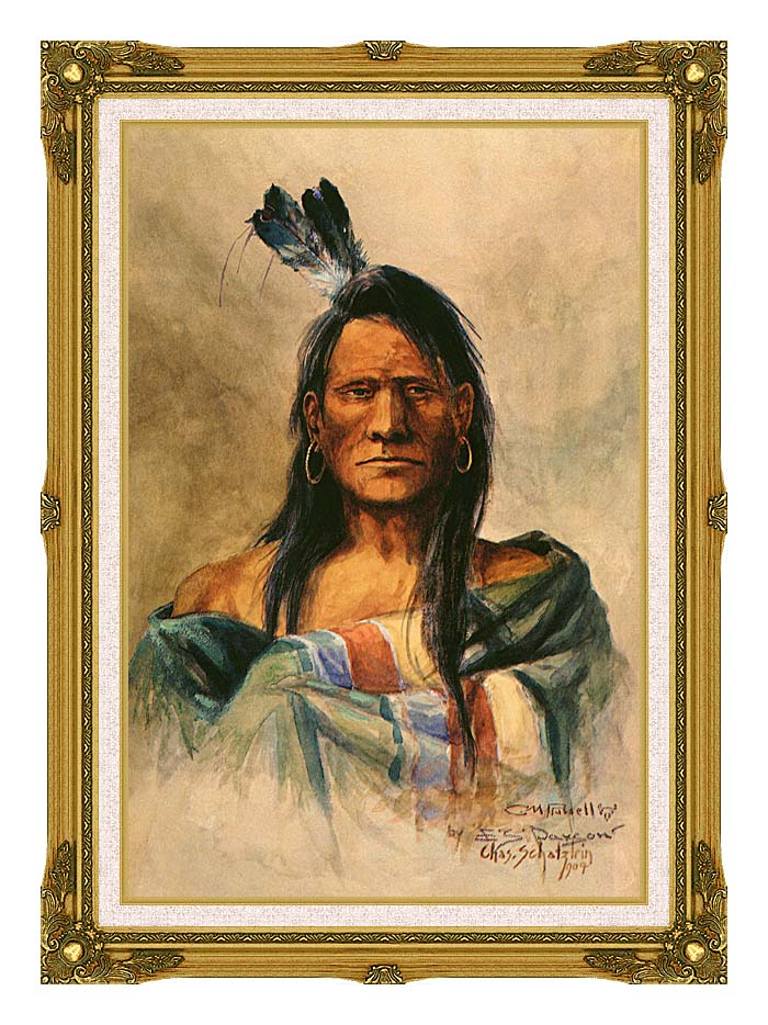 Charles Russell Indian Head with Museum Ornate Frame w/Liner