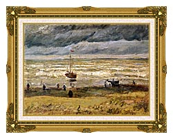 Vincent Van Gogh Beach At Scheveningen In Stormy Weather canvas with museum ornate gold frame