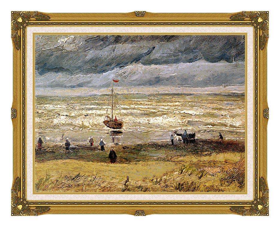 Vincent van Gogh Beach at Scheveningen in Stormy Weather with Museum Ornate Frame w/Liner